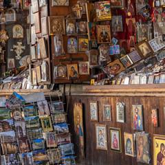 Rila monastery, Bulgaria  Religious souvenirs for sale