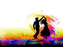 Couple Of Dancers. Vector Illu...