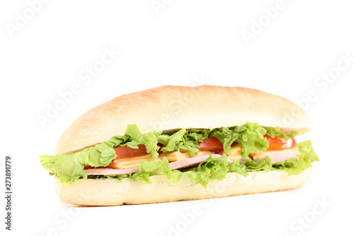 Obraz na plátně  Fresh sandwich isolated on white background