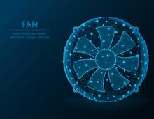 Fan Low Poly Graphic Model, Po...