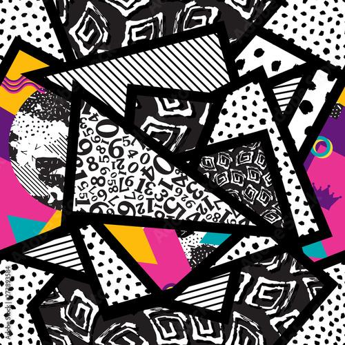 Poster Graffiti Seamless pattern of triangles memphis