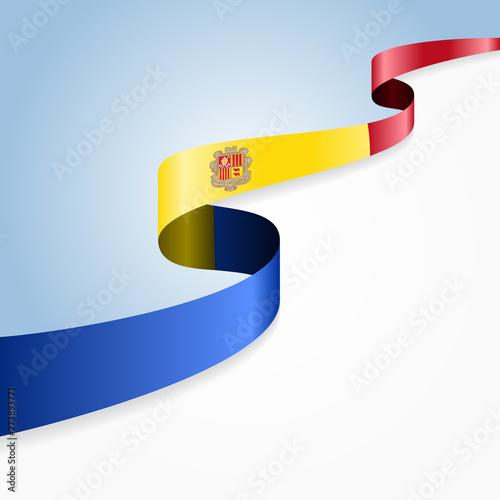 Photo Andorran flag wavy abstract background. Vector illustration.