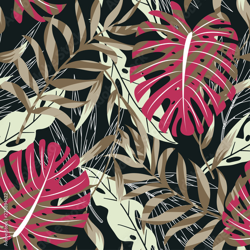 Poster Aquarel Natuur Trending seamless background with bright tropical leaves and plants on black background. Vector design. Jungle print. Floral background. Printing and textiles. Exotic tropics. Summer design.