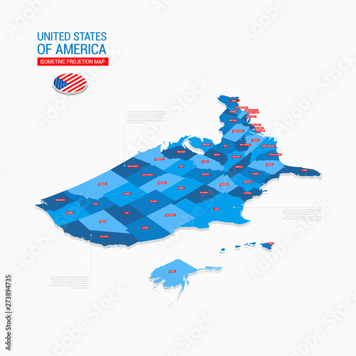 Photo  United States of America USA Isometric Map Projection Template