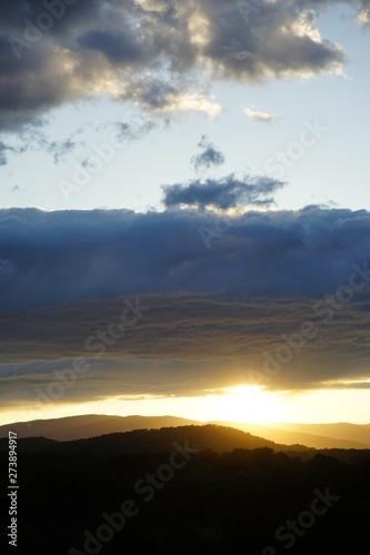 Sunset Over the Blue Ridge Mountains with Clouds