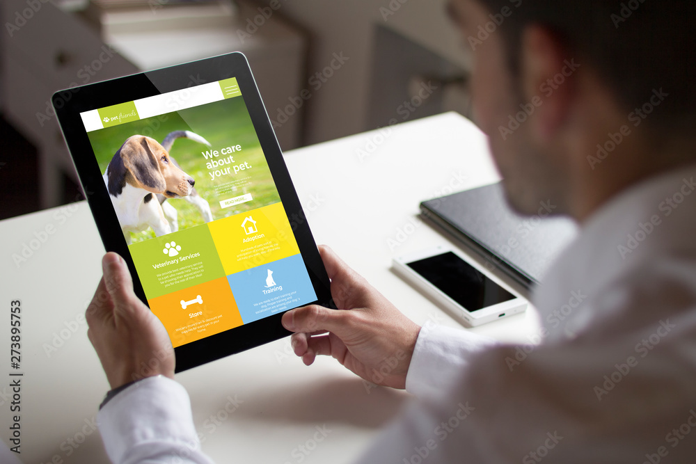 Fototapety, obrazy: businessman pet website with tablet pc