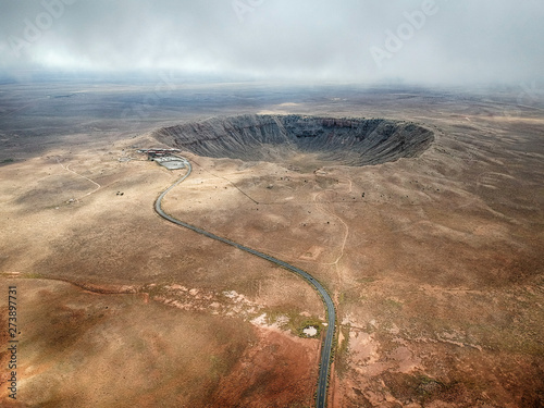 High angle aerial of Meteor Crater, Arizona. Canvas Print