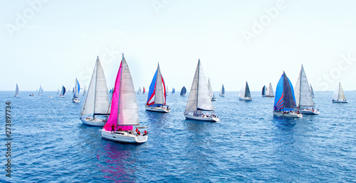 Leinwand Poster Sailing yachts during regatta  Brindisi Corfu 2019
