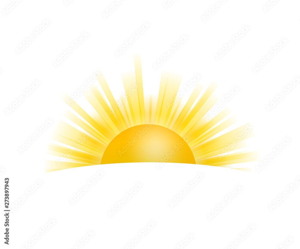 Fototapety, obrazy: Realistic sun icon for weather design on white background. Vector stock illustration.