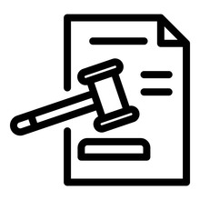 Judge Paper Decision Icon. Out...