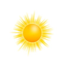 Realistic Sun Icon For Weather Design On White Background. Vector Stock Illustration.