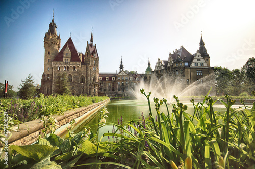 Türaufkleber Altes Gebaude WROCLAW, POLAND - JUNE 15, 2019: Castle in Moszna near Opole, Poland. One of the most beautiful historic residences in Poland. The palace has 365 rooms and 99 towers and turrets.