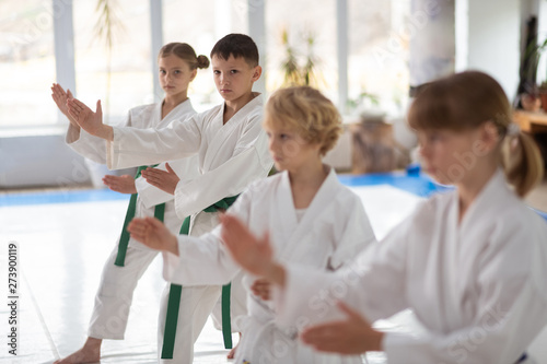 Boys feeling involved in practicing aikido together