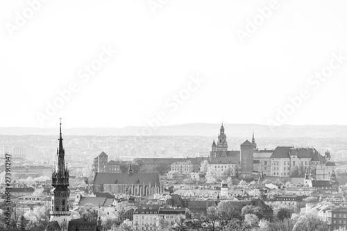 Fototapeta Panoramic Cityscape of Krakow, Poland, with wawel castle, black and white. View from Krakus mound. obraz