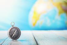 Travel Compass And Earth Globu...