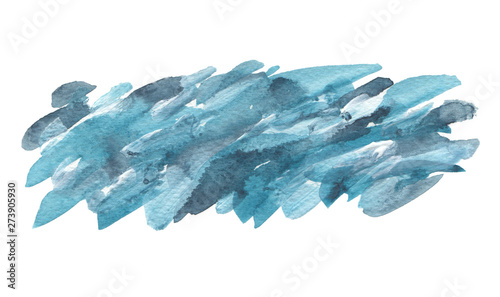 Abstract blue watercolor brush stroke painted background. Texture paper. Isolated on white.