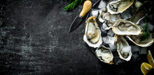 Appetizing Raw Oysters With Ic...