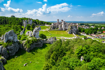 medieval castle ruins located in Ogrodzieniec, Poland
