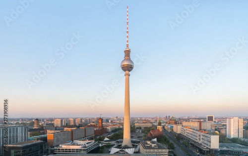 Berlin TV tower at Alexanderplatz, Germany view. Canvas Print