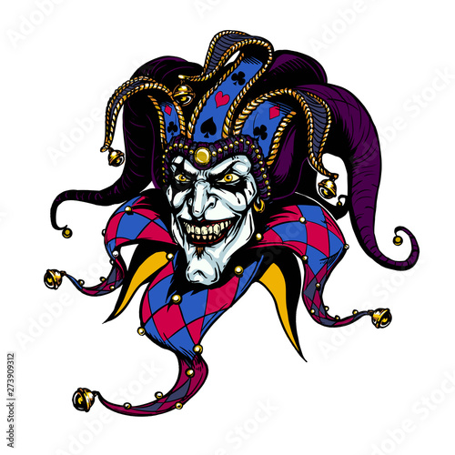 Fotografie, Obraz  Joker. Angry jester in the cap. tattoo illustration