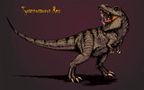 Fototapeta Dinusie - Cool aggressive dinosaur tyrannosaurus rex with open mouth illustration