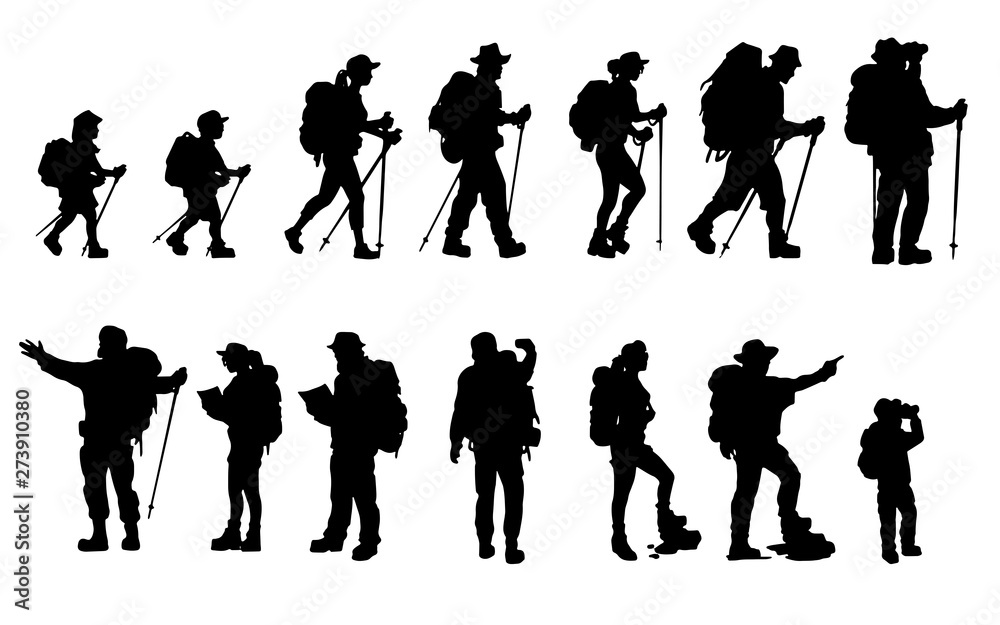 Fototapety, obrazy: Silhouettes of travelers with backpacks set. hiking, trekking, backpacking.