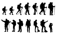 Silhouettes Of Travelers With Backpacks Set. Hiking, Trekking, Backpacking.