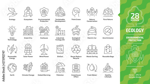 Ecology outline icon set with eco city, green technology, renewable energy, environmental protection, sustainable development, nature conservation, electric car & Earth editable stroke line symbols. - fototapety na wymiar