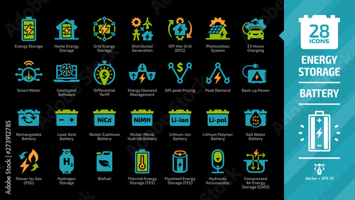 Obraz Energy storage color icon set on a black background with distributed generation, solar panel system, off the grid, EV home charging, demand management, rechargeable battery and more glyph symbols. - fototapety do salonu