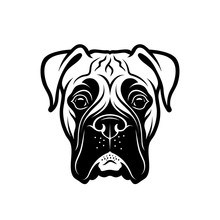 Boxer Dog - Isolated Outlined Vector Illustration