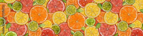 Fotografia Watercolor citrus background
