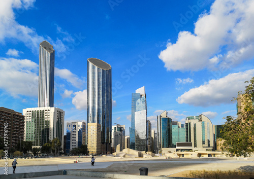 Keuken foto achterwand Abu Dhabi Abu Dhabi city architecture, Skyline and famous skyscrapers against the blue sky and beautiful clouds - World Trade Center