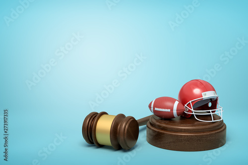 Fotografie, Tablou  3d rendering of ball and helmet for American football on sounding block with judge gavel lying beside on light-blue background