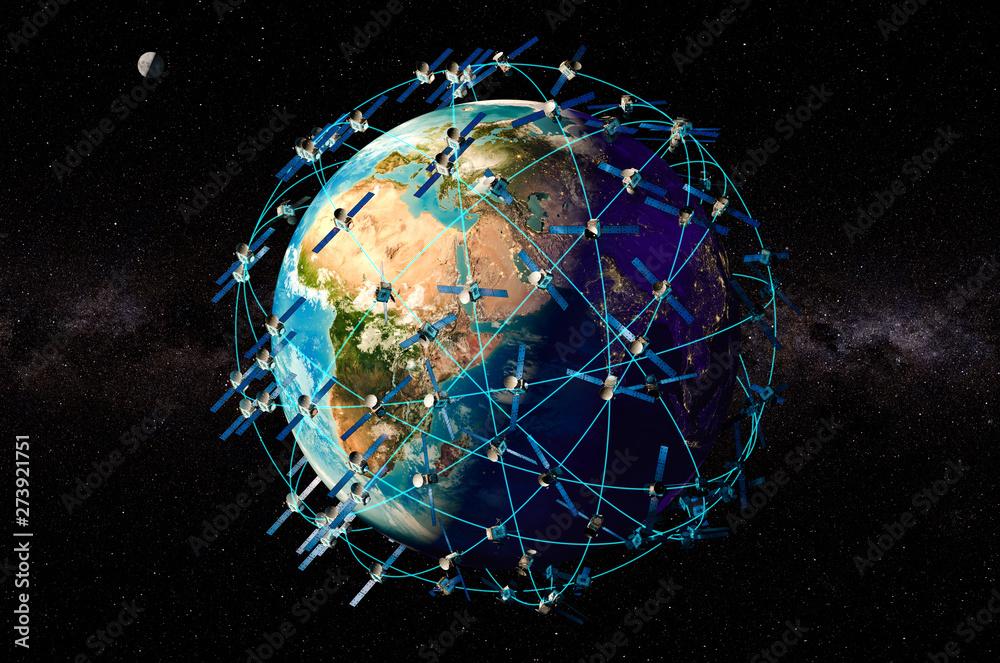 Fototapeta Space satellites around the Earth Globe, 3D rendering