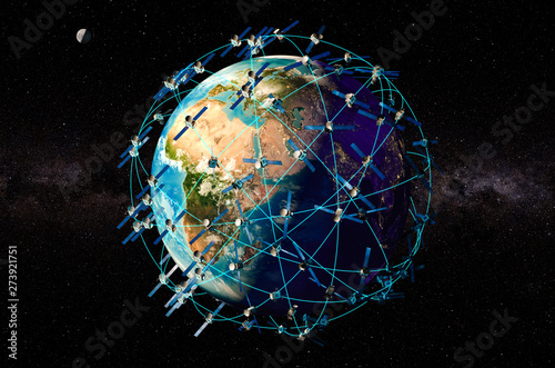 Space satellites around the Earth Globe, 3D rendering Tablou Canvas