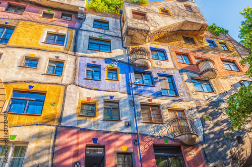 The view of Hundertwasser house in Vienna. - 273924159