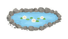 Cartoon Vector Garden Pond Illustration With Water, Stones And Water Lilies.