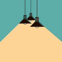 Illustration Of Lighting Ceiling Lamps With Ray