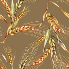 Rye Seamless Pattern. Watercolor Background.