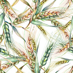 Panel Szklany Podświetlane Do restauracji Rye Seamless Pattern. Watercolor Background.