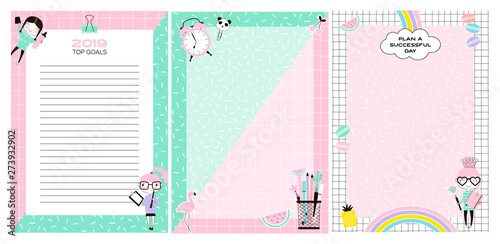 Blank planner book pages flat vector concept set Wallpaper Mural