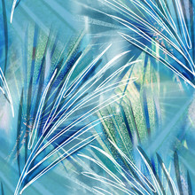 Palm Leaves Seamless Pattern. Artistic Background.