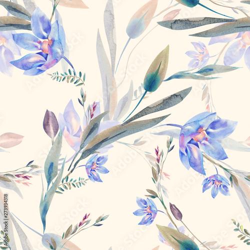 Türaufkleber Künstlich Watercolor Flowers Seamless Pattern.