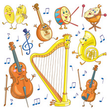 Set Of Funny Musical Instruments In Cartoon Style. Isolated On White Background. Vector Illustration.