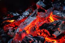 Hot Red Charcoals In Bonefire. Night. Dahab. Sinai. Egypt.