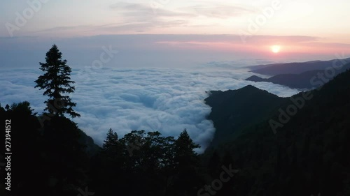 Fototapeta Aerial Video Shooting High Mountains And Trees Sunset Heavy Fog Clouds In The Sky Panoramic View No People The Orange Color Of The