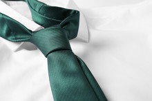 Color Male Necktie On White Sh...