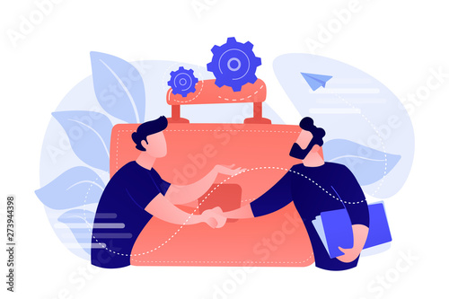 Fototapeta Two business partners shaking hands and big briefcase. Partnership and agreement, cooperation and deal completed concept on white background. Coral pink palette vector isolated illustration. obraz