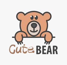 Logo Template With Cute Teddy Bear. Vector Logo Design Template For Pet Shops, Veterinary Clinics And Animal Shelters. Cartoon Bear Logo Illustration.