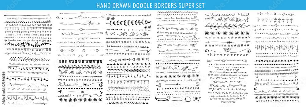 Obraz Hand drawn line, border, frame vector design element set. Template for invitation or greeting card. fototapeta, plakat